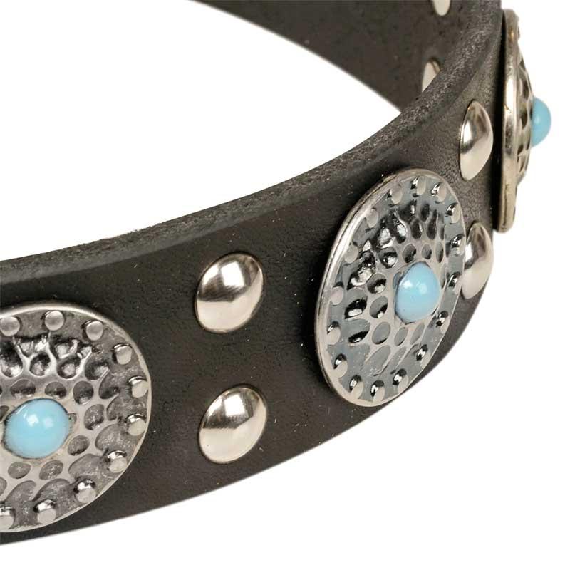Collier original pour chien gla ons bleus en cuir noir c11 - Collier pour chien original ...